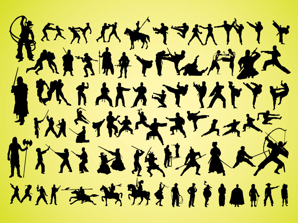 Warrior Silhouettes Vectors