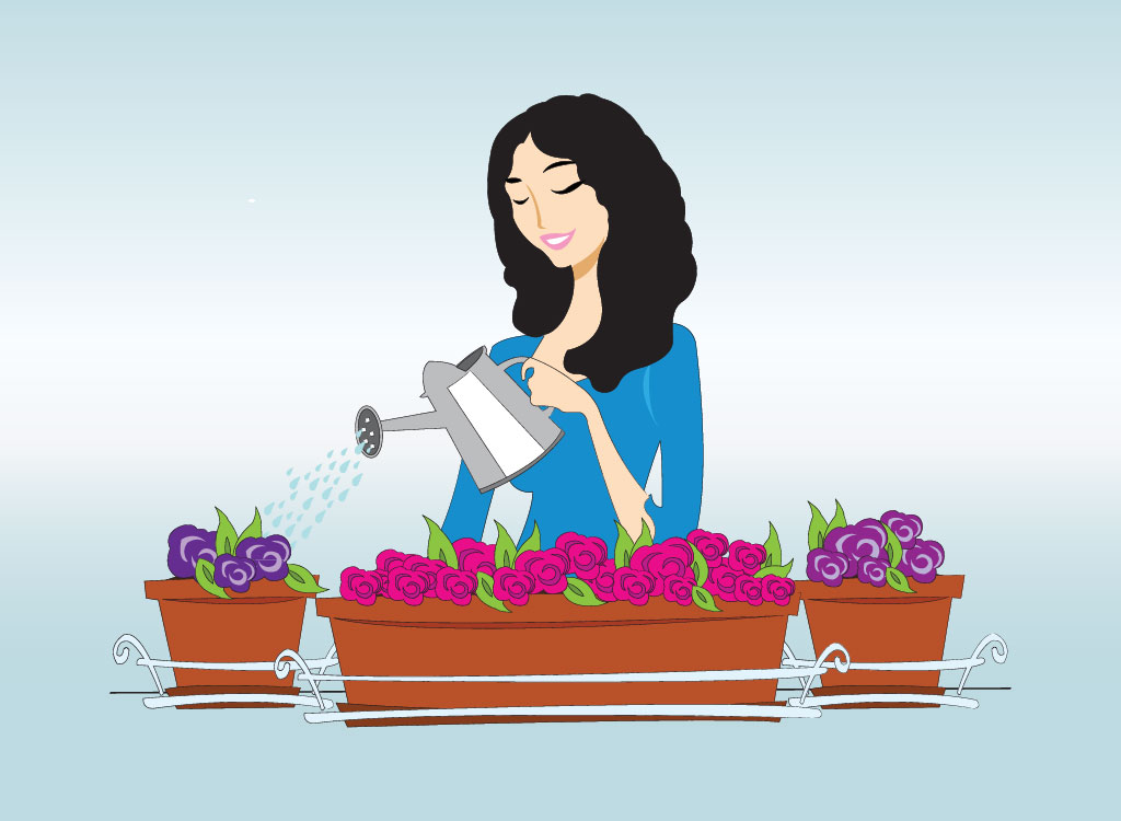 Woman Waters Plants