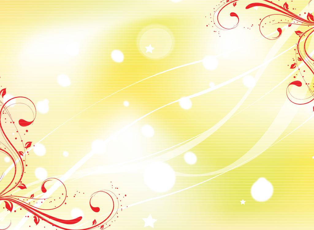 Yellow Background Red Swirl